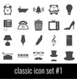 classic icon set 1 gray icons on white vector image