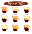 full collection of different type of coffee vector image