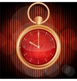 Golden watches on red abstract background vector image