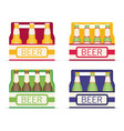 pack of beer bottles flat style icon set vector image