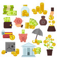 set of flat design concept money icons for finance vector image