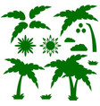 set of silhouettes of a cartoon palm tree with vector image