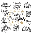 Set of Merry Christmas lettering vector image
