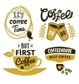 Coffee Logos With Quotes Set vector image