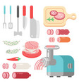 meat products ingredient and rustic elements vector image