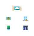 flat icon frame set of cloud curtain balcony and vector image