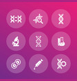 genetics icons dna chains genetic modification vector image