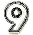 technological font Number 9 vector image vector image