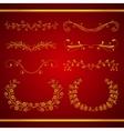 Set of elegant calligraphic foliate golden borders vector image