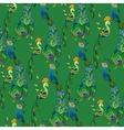 Peacock birds Beautiful green seamless pattern vector image