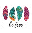Be free card with ethnic decorative vector image