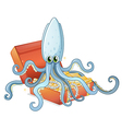 A treasure box with an octopus vector image
