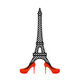 Eiffel Tower in red womens shoes Fashion symbol of vector image