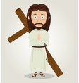Jesus christ carrying cross in back design vector image