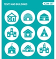 set of round icons white Tents and buildings tent vector image