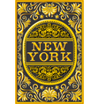 Vintage New York Label Plaque Black and Gold vector image