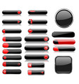 black and red menu buttons interface elements vector image