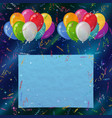 holiday background balloons with paper vector image vector image