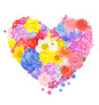 floral form of heart from different spring flowers vector image