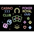 Set neon light logos of poker club and vector image