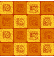 Seamless background with glyphs of the Maya vector image