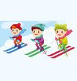 children skiers enjoying snow landscape vector image