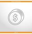 coins with dollar sign web flat icon vector image