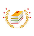 color emblem with stacking books and olive branchs vector image