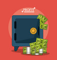 colorful poster with safe box and money profit vector image