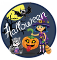 Halloween scene Witch with pumpkin cat and bat vector image