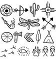 Hand drawn doodle native american symbols set vector image