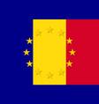 romania national flag with a star circle of eu vector image