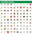 100 fire icons set cartoon style vector image