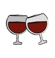 drawing two glass brandy beverage alcohol vector image
