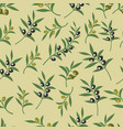 olive seamless pattern with leaves olives vector image vector image