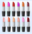 fashion lipstick ads colorful lipsticks arranged vector image vector image