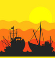 fishing boat sunset vector image vector image
