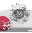 Hand drawn bow icons with icons background vector image