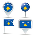 Map pins with flag of Kosovo vector image