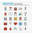 Healthcare and Medical Colorful Flat Line Icons vector image