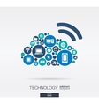 flat icons in cloud computing shape technology vector image