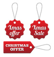 Christmas offer red stitched tags set vector image