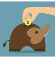 Elephant bank saving money vector image