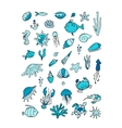 Marine life collection of sketches for your vector image
