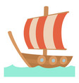 sailing ship icon cartoon style vector image
