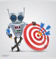 robot plays darts vector image