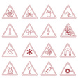 16 various danger signs types outline icons eps10 vector image