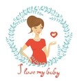Beautiful mom to be holding heart shape vector image vector image