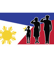 Philippines soldier family salute vector image