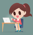 Business Woman Working On A laptop vector image